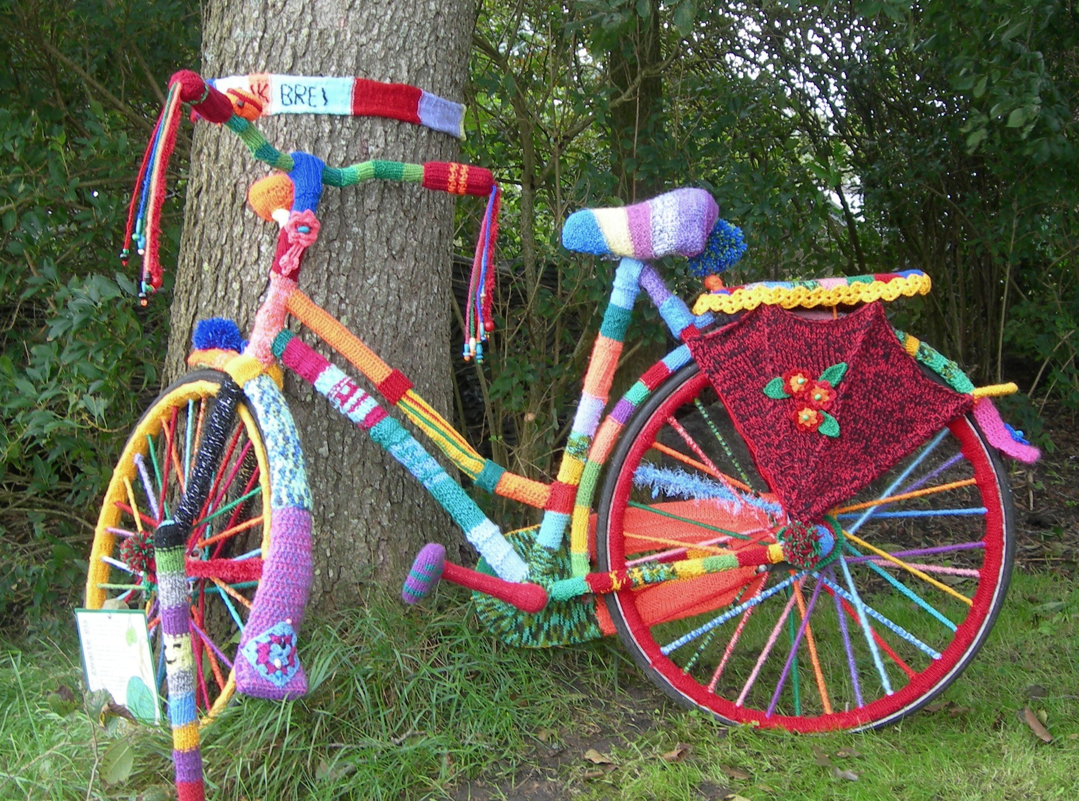 A yarnbombed bicyle